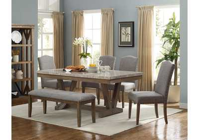 Vesper Marble Dining Table w/Bench and 4 Side Chairs