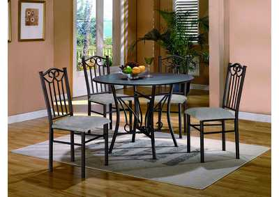 Hayes Taupe Round Dining Room Table w/ 4 Side Chairs