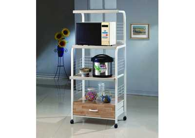 Image for White Kitchen Shelf On Casters