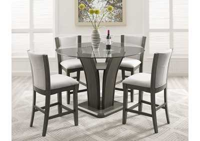 Camelia Grey Round Dining Set W/ 4 Chairs