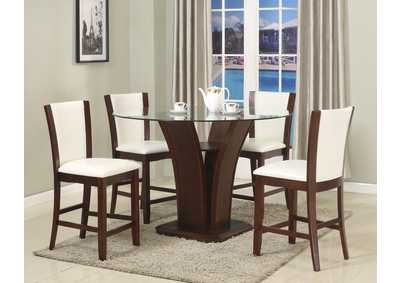 Camelia Counter Height Dining Room Table w/4 White Counter Height Chairs