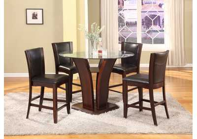 Camelia Counter Height Dining Room Table w/4 Espresso Counter Height Chairs