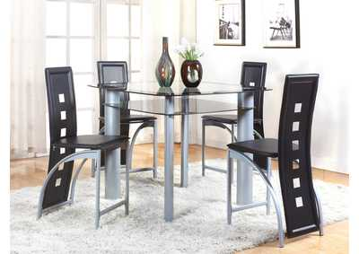 Echo Counter Height Glass Top Table w/4 Side Chairs