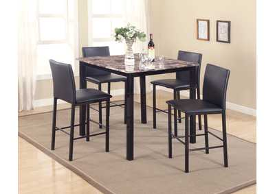 Aiden 5 Piece Counter Height Dining Room Table w/4 Counter Height Chairs