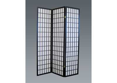 Black 3 Panel Wood Room Divider