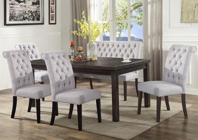 Palmer White Rectangular Dining Set W/ 4 Chairs & High Back Bench