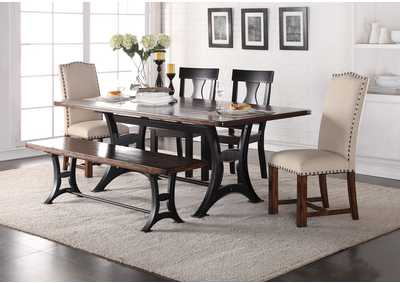 Astor Rectangular Dining Table w/2 Wood & 2 Upholstered Chairs & Dining Bench