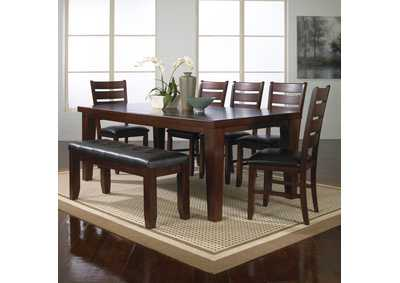 Image for Bardstown Brown Rectangular Dining Set W/ 5 Chairs & Bench