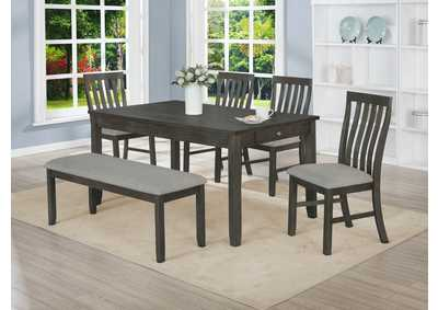 Image for Nina Grey Rectangular Dining Set W/ 4 Chairs & Bench