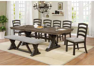 Image for Armina Brown Dining Table w/6 Side Chairs and a Bench