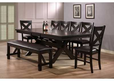 Havana Rectangular Extension Dining Table w/6 Side Chairs and Bench