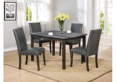 Pompei Grey Marble Top Dining Set W/ 4 Chairs