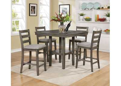 Image for Tahoe Grey Square Counter Height Dining Set W/ 4 Chairs