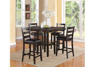 Tahoe Brown Square Counter Height Dining Set W/ 4 Chairs