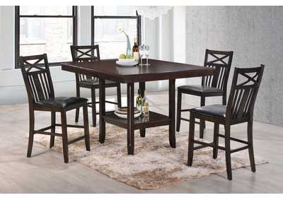 Meghan Counter Height Storage-Shelf Dining Table w/4 Counter Height Chairs
