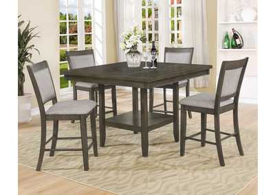 Fulton Gray Counter Height Dining Table w/4 Side Chairs