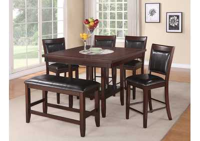 Fulton 5 Piece Counter Height Dining Set w/20 Inch Lazy Susan,Crown Mark