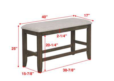 Fulton Grey Counter Height Bench