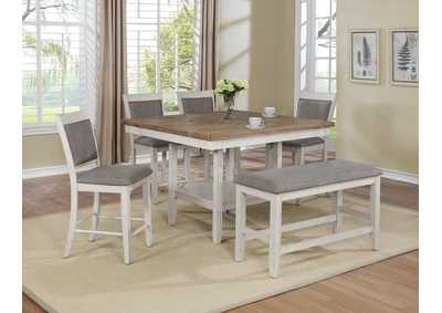 Fulton White 5 Piece Dining Table Set (Dining Table w/4 Side Chairs)
