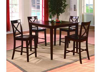 Theodore Brown Counter Height Dining Set W/ 4 Chairs