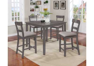 Henderson Grey Counter Height Dinette W/ 4 Chairs