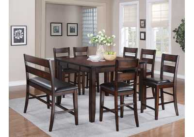 Maldives Counter Height Table w/ 4 Counter Height Chairs and Hi Back Bench