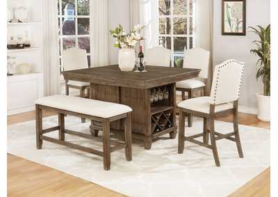 Regent Brown Rectangular Counter Height Dining Set W/ 4 Chairs & Bench