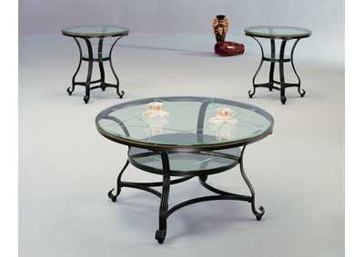 Jessica Glass Top Occasional Table Set (Cocktail & 2 Ends)