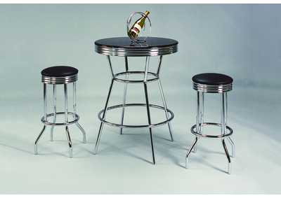 Chrome Bar Table Set W/ 2 Stools