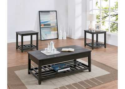 Image for Neil Black Coffee Table w/2 End Tables