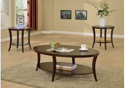 Rhonda Brown Cocktail Table W/ 2 End Tables,Crown Mark
