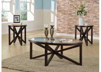 Cole Brown Glass Top Cocktail Table W/ 2 End Tables