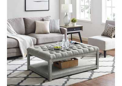 Image for Mansfield Grey Upholstered Ottoman W/Caster