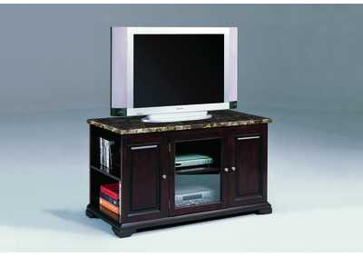 Harris Espresso & Marble Entertainment Console W/ Storage