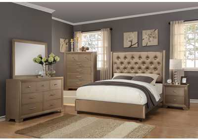 Fontaine Bronze Upholstered King Bed w/Dresser, Mirror, Drawer Chest and Nightstand