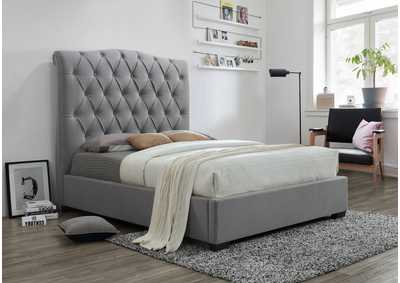 Janice Grey Upholstered Queen Platform Bed