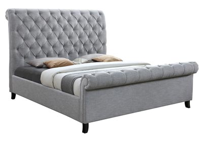 Kate Light Grey Upholstered King Bed