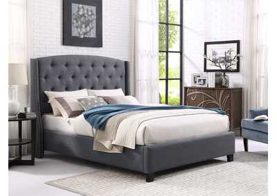 Image for Eva Grey Upholstered Queen Platform Bed