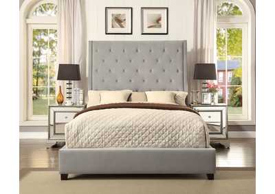 Reese Gray/Blue Upholstered King Platform Bed w/Button Tufting