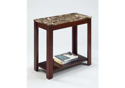 Devon Brown Marble Top Chairside Table