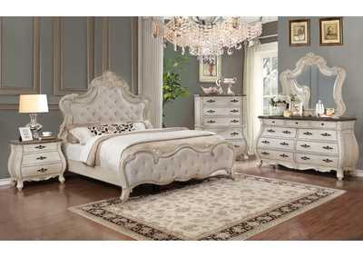 Ashford White King Bedroom Set W/ Dresser, Mirror, Nightstand & Chest