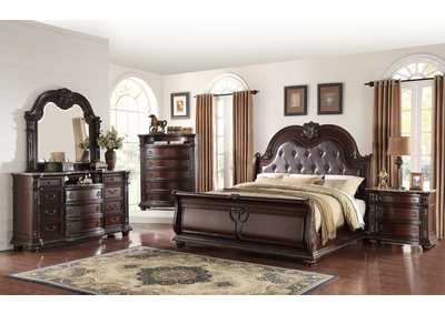 Stanley Upholstered King Sleigh Bed w/Dresser and Mirror