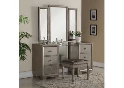 Fontaine Golden Metallic Vanity Set w/Mirror & Stool