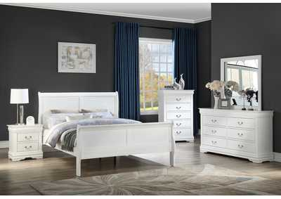 Louis Philip White Full Bed W/ Dresser & Mirror