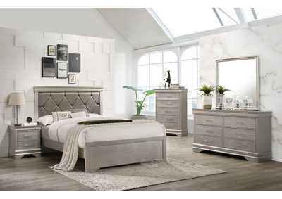 Image for Amalia Silver King Bedroom Set W/ Dresser, Mirror, Nightstand & Chest