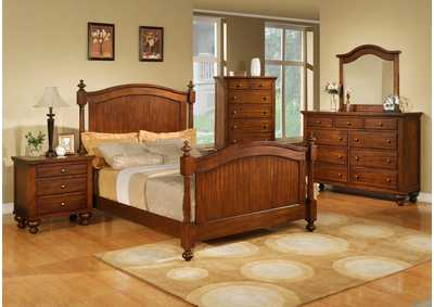 Sommer Queen Bed w/Dresser, Mirror, Drawer Chest and Nightstand