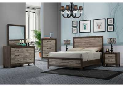 Jaren Brown California King Bedroom Set W/ Dresser, Mirror, Nightstand & Chest