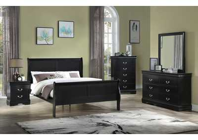Louis Philip Cherry Queen Sleigh Bed W/ Dresser & Mirror