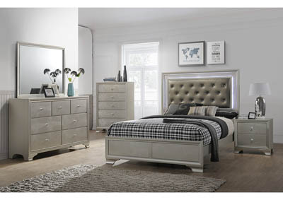 Lyssa Gold LED Queen Bed w/Dresser and Mirror