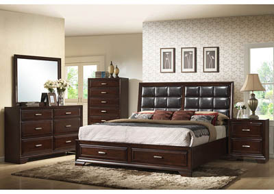 Jacob King Storage Bed w/Dresser, Mirror and Nightstand